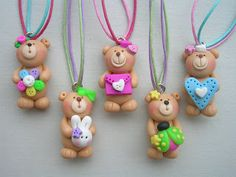 little clay corner: CUTE ORNAMENTS Fimo Clay, Polymer Clay Beads, Polymer Clay Crafts, Clay Bear, Clay Ornaments, Polymer Clay Necklace, Cute Teddy Bears, Clay Animals, Candy Party