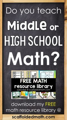 The Scaffolded Math and Science blog has tons of teaching ideas and resources for teaching middle and high school math. Teaching 6th Grade, 7th Grade Math, Teaching Math, Teaching Aids, Maths, Math Classroom, Future Classroom, Google Classroom, Alternative High School
