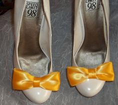 Yellow Bridal Shoe Clips Yellow Double Satin Bows by ShoeClipsOnly, $16.00