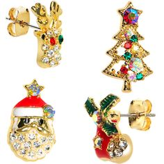 $11.99 Gold Tone Gem Holiday Christmas Mixed Earring Set christmas, holiday, gift, gift set, bonus pack, tree, joy, piercing, bodycandy, stocking stuffer