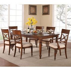 Flexsteel Wynwood Collection American Heritage 7 Piece Dining Set with Rectangular Table