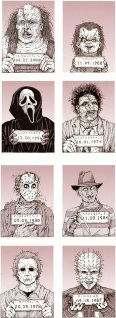 Monster MugShots by Cody Schibi. The series includes Jason Voorhees (Friday the Freddy Krueger (A Nightmare on Elm St. Arte Horror, Horror Art, Sexy Horror, Funny Horror, Jason Voorhees, Chucky, Bd Garfield, Ghostface Scream, Horror Movie Characters