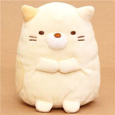 kawaii beige Sumikkogurashi cat with collar plush toy - Plush Toys - kawaii shop modeS4u