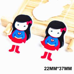 50pcs 22*37MM Cartoon Super Hero Girl Flatback Resin Cute Superman Planar Resin DIY Craft For Home Decoration Accessories FR-22