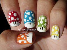 Mario Mushroom themed nail art