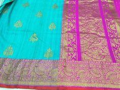 Turquoise Blue Banaras dupion silk with dark fuchsia border and zari butties with antiq gold zari