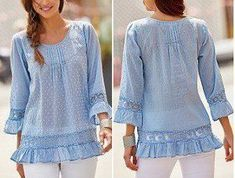 Blusa suelta con manga y volantes Blouse Patterns, Clothing Patterns, Diy Clothes Jeans, Western Tops, Blouse And Skirt, Beautiful Blouses, Minimalist Fashion, Ideias Fashion, Tunic Tops