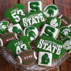 Michigan State University Cookies by TheTreatsbyTrishShop on Etsy