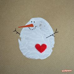 Potato Print Snowman Christmas Card from MollyMoo || 15 Christmas Cards Kids Can Make! || Letters from Santa Holiday Blog!