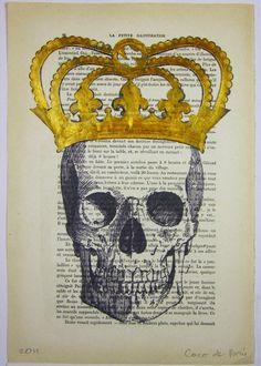 The King is dead ORIGINAL ARTWORK Hand Painted by Cocodeparis, $15.00