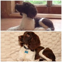 Needle felted spaniel commission by Karen Norton Designs on Facebook and Etsy