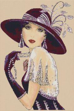 Cross stitch chart Art Deco Lady in Art Deco Illustration, Illustrations Vintage, Art Pictures, Art Images, Art Deco Cards, Art Deco Paintings, Art Deco Stil, Retro Mode, Art Deco Posters