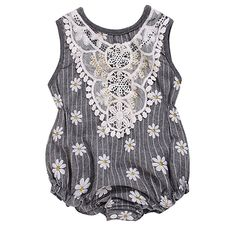 0f35a6776e01 Amazon.com  Baby Girls Grey Stripe Laced Floral Daisy Print Sleeveless Romper  Jumpsuit  Clothing