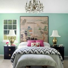 room with mint green walls | ... mint green accent wall instead of gray..brighten up the room a bit