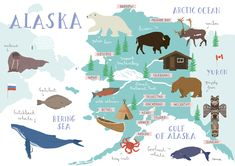 Alaska, one of the last frontiers between man and indomitable nature. Digital illustrated map by Rena Ortega Travel Maps, Travel Posters, Prudhoe Bay, Tableaux D'inspiration, Early Explorers, Country Maps, Alaska Travel, Juneau Alaska, Photos Voyages