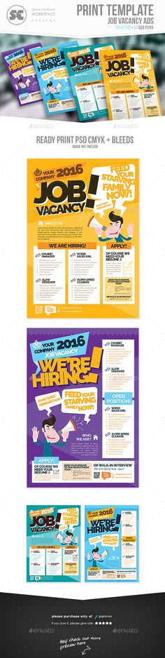 Job Vacancy Flyer — Photoshop PSD #open day #announcement • Download ➝ https://graphicriver.net/item/job-vacancy-flyer/14316778?ref=pxcr