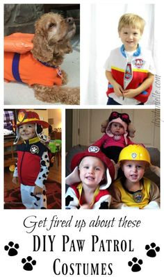 Paw Patrol costumes that you can make or buy! These are awesome ideas for Halloween costumes or pretend play for kids and adults who love the TV show. Paw Patrol Dress Up, Paw Patrol Kostüm, Paw Patrol Party, Paw Patrol Birthday, Paw Patrol Halloween Costume, Family Halloween Costumes, Halloween Kids, Halloween Crafts, Halloween Party