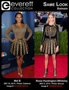 Stunning Ladies, Same Look: Mel B and Rosie Huntington-Whiteley in Balmain - Mel B (wearing a Balmain skirt) at arrivals for AMERICA'S GOT TALENT Post Show Red Carpet Event, Rockefeller Plaza, New York, NY September 10, 2014. Photo By: Kristin Callahan/Everett Collection *** Rosie Huntington-Whiteley (wearing Balmain) at arrivals for 'Charles James: Beyond Fashion' Opening Night at The Metropolitan Museum of Art Annual Gala - Part 3, Anna Wintour Costume Center, New York, NY May 5, 2014.