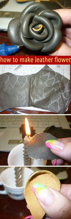 How to Make Leather Flowers. DIY tutorial step by step  http://www.handmadiya.com/2012/04/blog-post_01.html