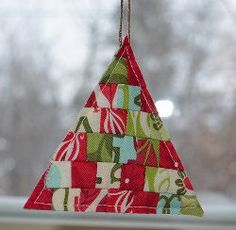 Modern Patchwork Christmas Tree Ornaments #quilting tutorial by Leanne from She Can Quilt