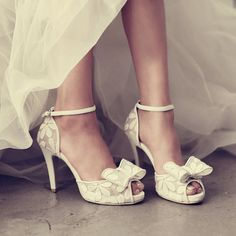 Ms. bow fish head high heels shoes white lace bridal by Queenheels