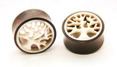 Pair Double Flare Sono Wood Fall Tree Bone Inlay Ear Plug Gauges Nog 133 | eBay