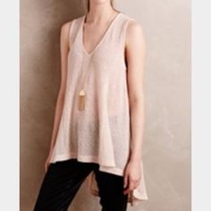 """Painted Threads high low tunic tank Painted Threads super soft tank top. Lightweight sweater material. Stretchy. The colors are like copper and white. Rayon/poly/metallic/nylon/spandex. Hand wash cold. Length is about 31"""" at longest, no condition issues. Anthropologie Tops Tank Tops"""