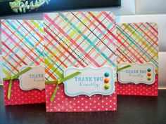 Thank You Cards Set Thank You Notes Set of 4 by apaperaffaire, $10.00