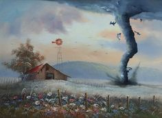 Dave Pollot is a painter in the US who brings new life to old and forgotten thrift store paintings by adding pop culture characters. He uses these old paintings to combine his interest in painting with his love for pop culture.
