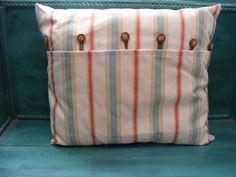 Blue Peach Striped 18 x 18 Decorative Pillow by HASinspiration, $35.00