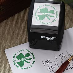 Want this Irish Shamrock Self-Inking Return Address Stamper! Perfect wedding gift or housewarming gift for an Irish couple and it's only $24.95!