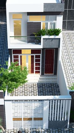 "Mẫu nhà phố 5m hiện đại đẹp 2 tầng với ý tưởng ""chốn về"" House Front Design, Small House Design, Modern House Design, Zen House, Modern Bungalow House, Narrow House, House Elevation, Tiny House Plans, Facade Design"
