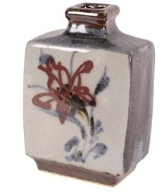 Artwork by Kanjiro Kawai, Slab sided bottle vase with square mouth, Made of Earthenware with brushwork floral designs