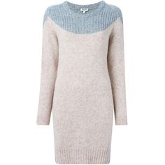 Kenzo round neck sweater dress (1,320 PEN) ❤ liked on Polyvore featuring dresses, grey, long sleeve sweater dress, rose dress, kenzo dress, grey long sleeve dress and gray dress