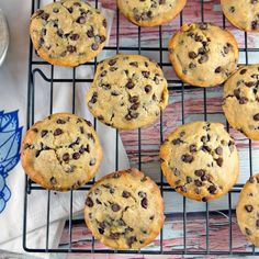 One bowl, mix by hand, banana chocolate chip muffins reminiscent of your favorite banana bread.