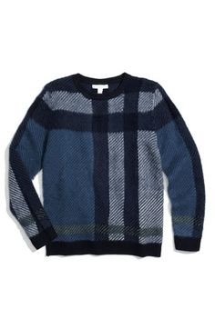 Burberry check print cashmere & wool sweater for boys ($295)