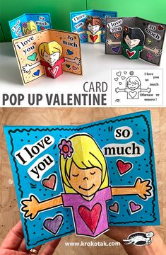 Valentine Activities, Valentine Crafts For Kids, Pop Up Valentine Cards, Love Coloring Pages, School Art Projects, Diy Arts And Crafts, Teaching Art, Kids Cards, Creative Cards