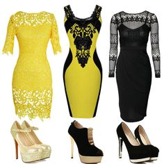 Yellow and black dresses, which one do you like?  Find More: http://www.imaddictedtoyou.com/