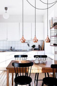 Modern minimalist kitchen with rose gold pendant lights