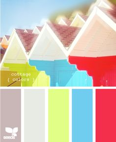 wall color of lime sherbet (gallon) with lots of white; quart of red; pint of blue; cottage colors from design.seeds