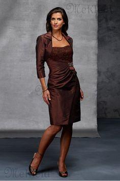 3772aa320b Schlicht Taft Cocktail Länge Anständiges Gesammelte Brautmutterkleid - Bild  1 Bride Dresses