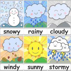 Preschool Weather Chart, Preschool Charts, Weather Kindergarten, Teaching Weather, Kindergarten Learning, Preschool Classroom, Toddler Activities, Preschool Activities, Learning English For Kids