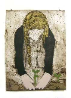 PRINTS - Alison Worman.  a self portrait Gardening