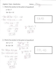 Substitution and the distributive property math pinterest systems of equations quiz substitution fandeluxe Choice Image