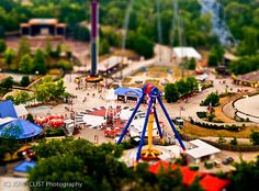 """First attempt at faking the Tilt-Shift look Taken from the """"Eiffel"""" Tower at Kings Island Amusement Park in Mason, OH. Kings Island Ohio, Tilt Shift Photography, Planet Coaster, The Special One, Carnival Rides, Park Photos, I Cool, St Patricks Day, Dolores Park"""