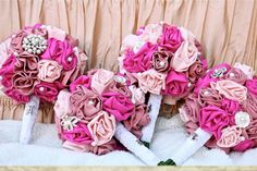 Set of 4 Handmade Fabric Rose Bouquet s by ChellysChicBoutique, $550.00