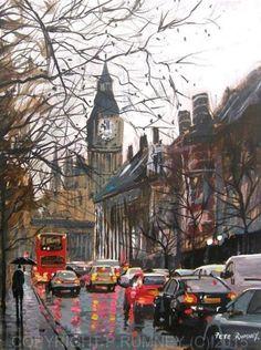 PETE RUMNEY FINE ART BUY ORIGINAL OIL ACRYLIC PAINTING LONDON TRAFFIC in Art, Artists (Self-Representing), Paintings, Oil | eBay