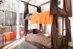 HOSTEL: Hip karma hostel, Barcelona -- interesting bed curtains