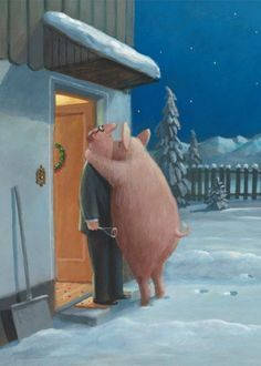 Viel Glück: Illustration by Gerhard Glück (10,5 x 14,8 cm Postkarte, €1.00) #illustration #GerhardGlueck #NewYear #swine