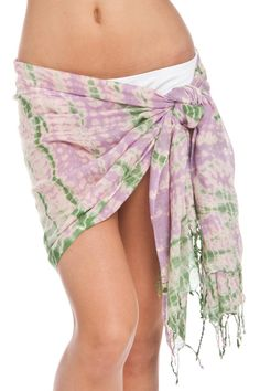 Lightweight tie-dye cover-up with thin fringe trim on the ends that can be wrapped multiple ways.  Measures: 64'' X 27''  Tie-Dye Cover Up by Violet Del Mar. Clothing - Swimwear - Cover Ups San Diego California